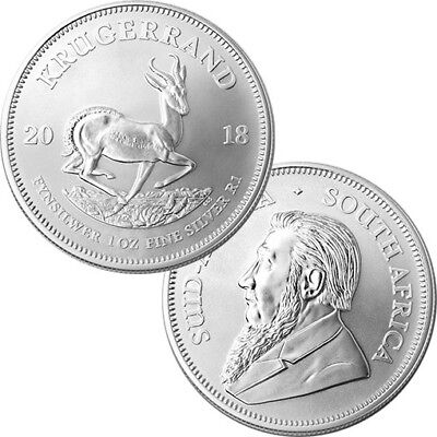 1 x  2018 1oz South African Krugerrand 1 ounce Silver Bullion Coin unc:
