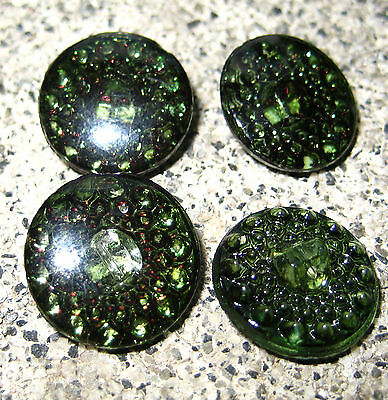 "Set of 4~ Vintage 3/4"" Pine Green Crystal Glass Buttons~Pre WWII~new/old stock"