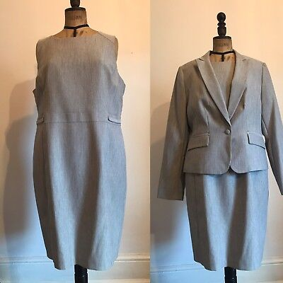 Primark SUIT DRESS - Silver Grey Houndstooth Fits Size 18 Plus Curve Office Chic