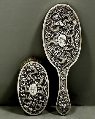 Chinese Export Silver Mirror & Brush      (2)   c1890    DRAGONS & SACRED PEARL