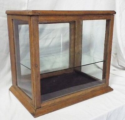 Old Antique SMALL OAK & GLASS Counter Top DISPLAY CASE SHOWCASE Glass Shelf
