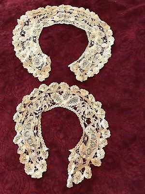 2-Antique Brussels Princess Lace Collars*Very Dainty!