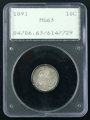 1891 Ms-63 Seated Liberty Dime * Old Holder Pcgs * Nice Coin