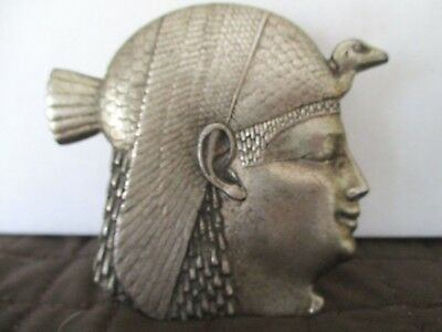 Vintage Large Egyptian Head Face Paper Clip  Egypt  Silver Tone Metal  Pewter
