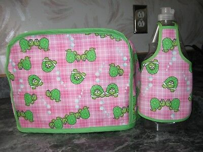 Green Turtles on pink cotton fabric Handmade 2 slice toaster cover (ONLY)