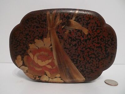 ANTIQUE JAPANESE GOLD / RED / Black LACQUERED Jewelry BOX – Bird & Flower !!!
