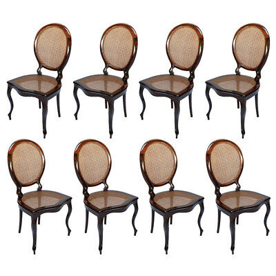 Set of 1940s Brazilian Jacaranda Medallion Cane Dining Chairs