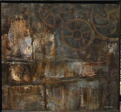 Listed Eugenia Perez del Toro Surreal Machine Gears View Oil Painting #2 NO RES.