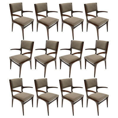 Set of 12 Carlo de Carli 1950s Velvet Dining Chairs with Arms