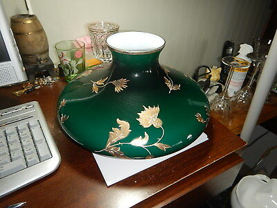 Old green cased white glass table lamp light shade art nouveau gold flowers old