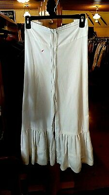 Frontier Classic Ladies DRAWSTRING RUFFLED PANTS- WHITE - SZ SMALL-MEDIUM