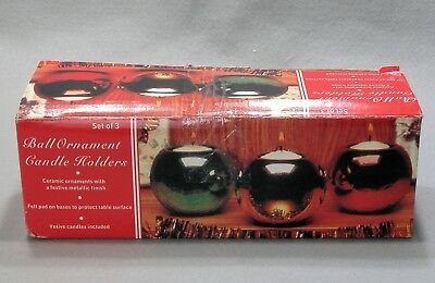 Vintage Reflective Ball Ornament Christmas Candle Holders Set of 3 New in Box