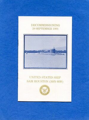 Submarine USS Sam Houston SSBN 609 Decommissioning Navy Ceremony Program #2