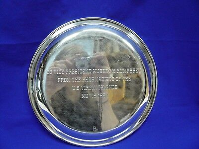 Signed Sterling Silver Tray Engraved For Vice President Hubert H. Humphrey