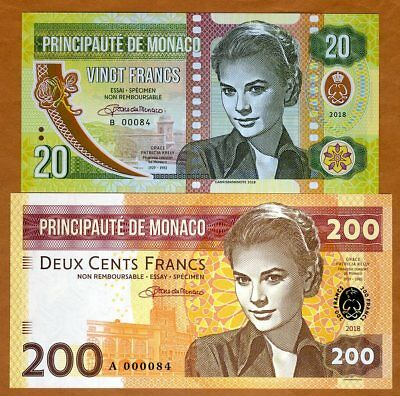 SET Monaco, 20 + 200 Francs, 2018 Private Issue, matching S/Ns > Grace Kelly