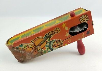 Vintage T. Conn Early Clown Circus Tin Noise maker toy spinning crank clacker
