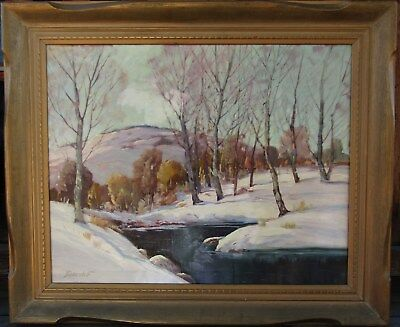 LISTED George Bickerstaff Large Impressionist Winter Landscape Oil Painting NR