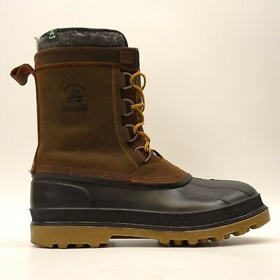 Kamik Mens Brown William Leather Waterproof Athletic Casual Duck Boots Size 11