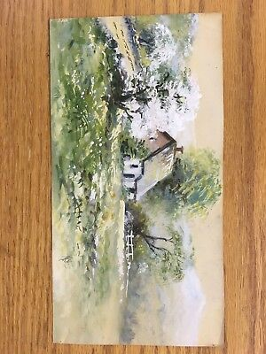 OlD Original Signed Watercolor Painting Mountain Barn Farm Landscape Framed