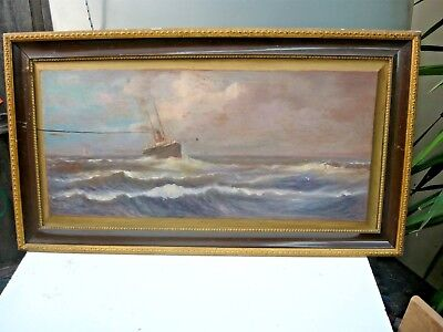 Antique (1900) oil on timber of SteamShip Penguin by W A Short - NZ/Tas history.