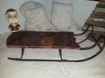 RARE Antique 1800's Era SALESMAN SAMPLE Childs Hand Painted Sled ~Farmhouse Find