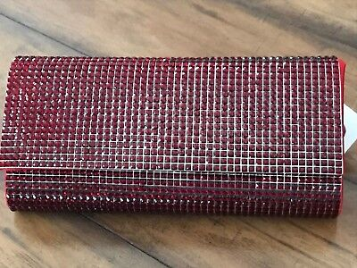 """Sparkly Red Convertible Clutch • Plastic """"crystals"""" Look Like Garnets • Purse"""