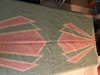 "Vintage Orr Health 100% Wool Mint Green Pink 70x80"" Blanket Reversible"