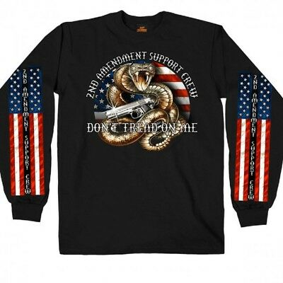 2nd Amendment LONG SLEEVE T-Shirt Motorcycle Don't Tread On Me Biker Gun Flag