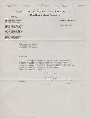 1940 Republican Convention Appointment Letter