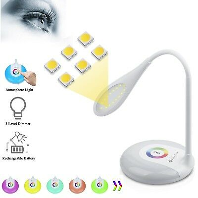 USB Port Touch Control Colorful LED Desk Lamp with Adjustable Brightness Level