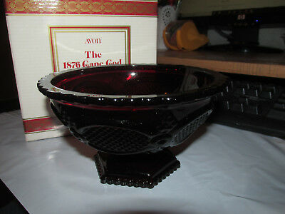 Avon 1876 Cape Cod Collection Ruby Red Glass Candy Dish New In Box