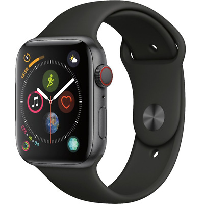 Apple Watch Series 4 GPS + Cellular 44mm Space Gray with Black Band MTUW2LL/A