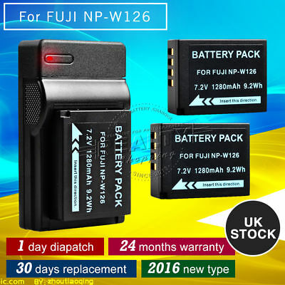 New 2X NP-W126 Battery + USB Charger for Fuji Camera HS 30 33 35 50 X-A1 E1 E2