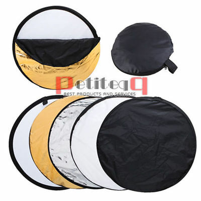 110cm Photo Studio 5-in-1 Reflector Diffuser Round Collapsible Panel Bag 43'' UK