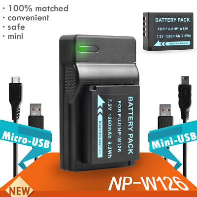 New NP-W126 Battery + USB Charger for Fuji Camera HS 30 33 35 50 X-A1 E1 E2
