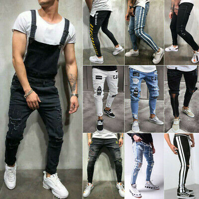 mens Skinny Jeans Ripped stretchy Slim Fit Pant Sports Pant Casual Denim Pants