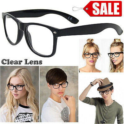 Retro Vintage Square Frame Clear Lens Glasses Fashion Geek Nerd Fake Eyeglasses