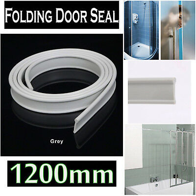 Soft Rubber Shower Door Seal for Folding Bath Screen 1200mm Grey Easy Install