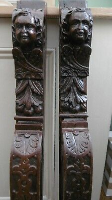 SUPERB Pr 19thc ARCHITECTURAL OAK CARVED CHERUB CARYATID CORBELS