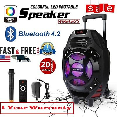 "18"" Portable Remote Audio PA Speaker w/ Bluetooth USB Wireless Microphone Party#"