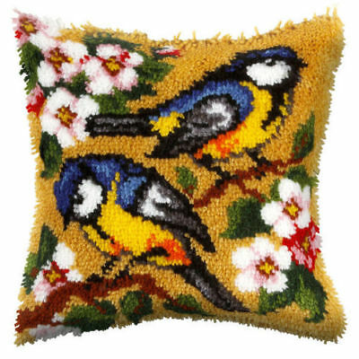 Orchidea Latch Hook Cushion Kit - Large - Blue Tits - Needlecraft Kits