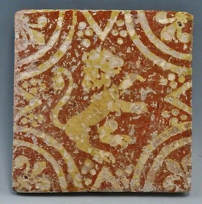 17Th/18Th Century Glazed Tile Depicting Rampant Lion (426H)