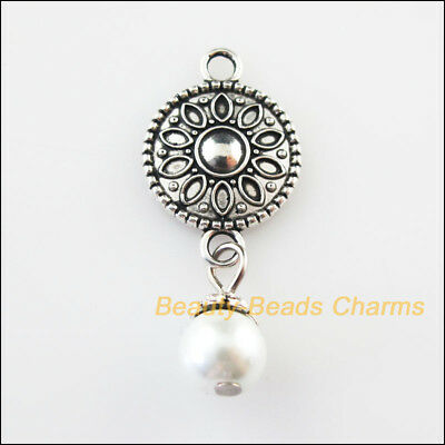 4 New Round Flower Charms White Glass Beads Pendants Tibetan Silver 15.5x34mm