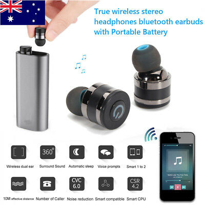 AU True Wireless Bluetooth Mini Earphones Stereo Earbud With Portable Battery