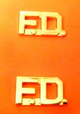 """F.D. Fire Department Collar Pin Premier Set Gold Cut Out Letters 3/8"""" 2406 New"""