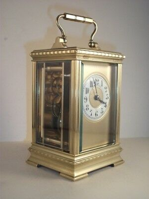 Antique Brass Carriage Clock With Masked Dial. Key.  Full Service Oct. 2018