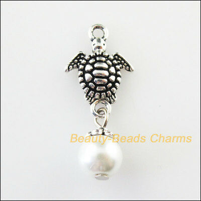 6 New Animal Tortoise Charms White Glass Beads Pendants Tibetan Silver 13.5x21mm