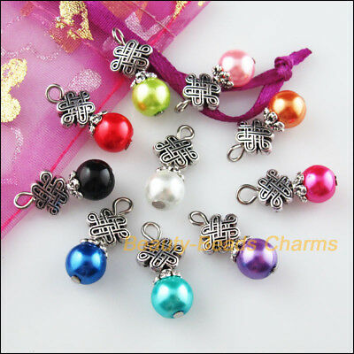 10 New Charms Mixed Round Glass Beads Pendant Tibetan Silver Tone Flower 10x20mm