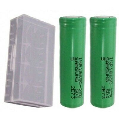 2 x Genuine Samsung 25R 18650 2500mAh 20a/ 35A INR Rechargeable Vape & Free Case