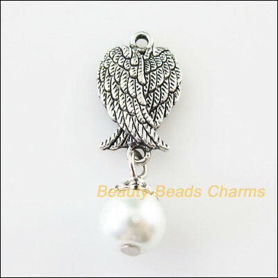 5 New Animal Wings Charms White Glass Beads Pendants Tibetan Silver Tone 11x32mm